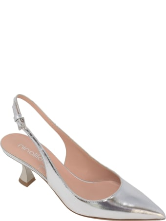 Ninalilou Silver Leather Slingback Pumps