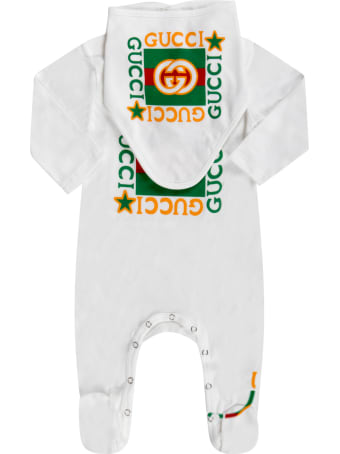 Gucci White Set For Babykids With Logos