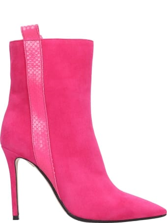 The Seller Ankle Boots In Fuxia Suede And Leather
