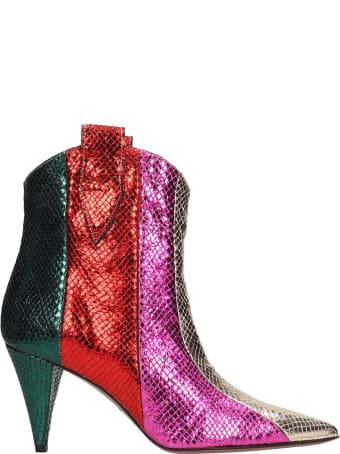 Marc Ellis Multicolor Snake Metal Ankle Boots