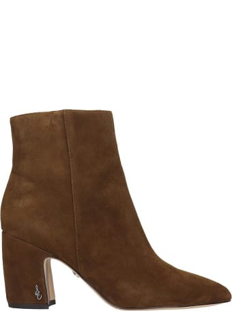 Sam Edelman Hilty High Heels Ankle Boots In Brown Suede