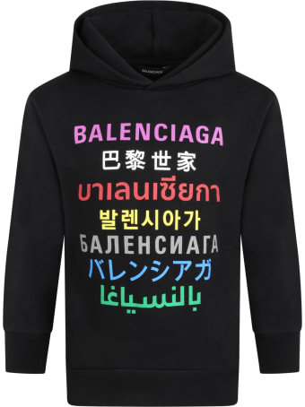 Balenciaga Black Sweatshirt For Kids With Logos
