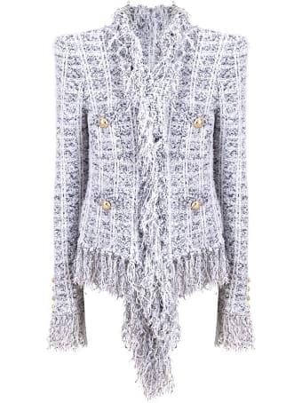 Balmain Collarless Fringed Tweed Blazer
