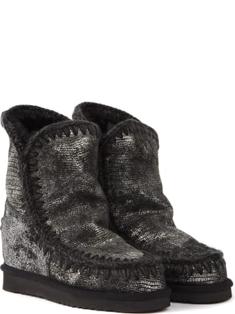 Mou Eskimo Grey Laminate Ankle Boot