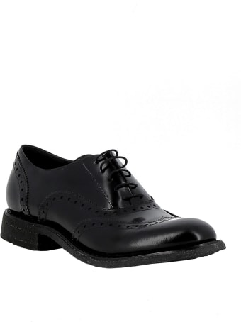 Del Carlo Roberto Del Carlo Woman's Black Leather Lace-up Shoes
