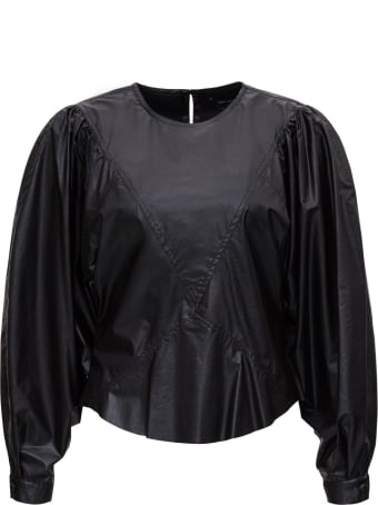 Isabel Marant Faux Leather Sweater With Puff Sleeves