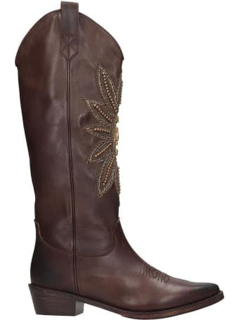 Coral Blue Texan Boots In Brown Leather