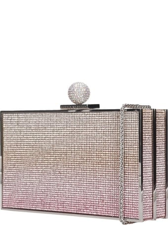 Sophia Webster Clara Crystal Clutch In Platinum Tech/synthetic