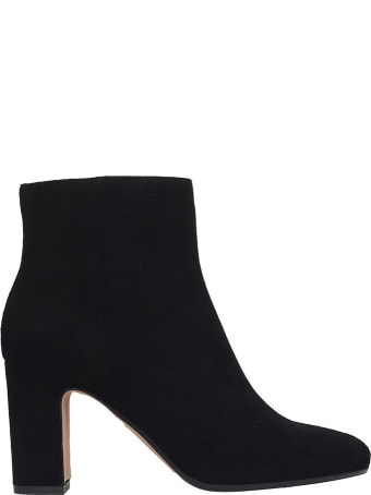 Julie Dee High Heels Ankle Boots In Black Suede