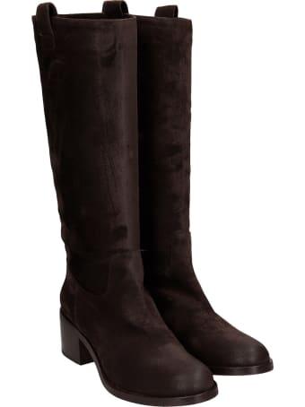 Julie Dee High Heels Boots In Brown Suede