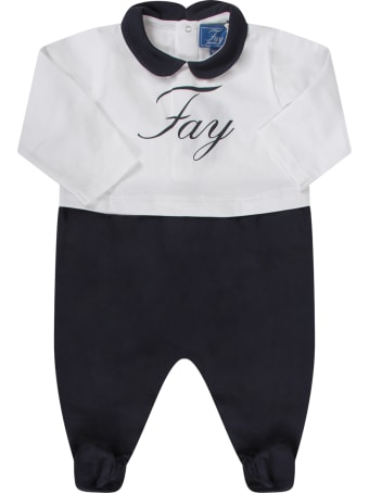 Fay White And Blue Suit For Baby Boy With Logo