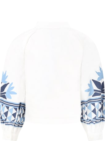 Stella Jean White Blouse For Girl With Ethnic Prints