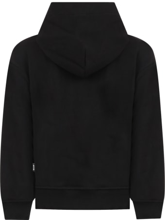 MSGM Black Sweatshirt For Kids With Silver Logo