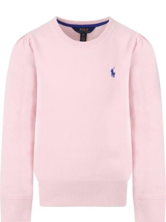 Ralph Lauren Pink Sweatshirt For Girl With Pony Logo