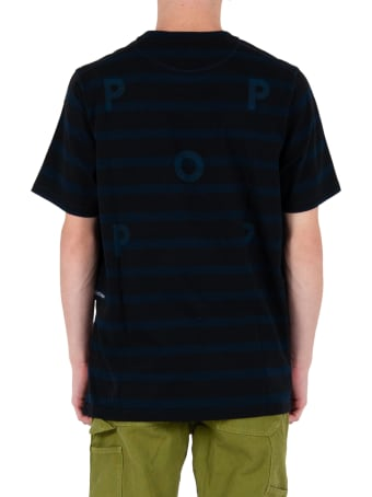 Pop Trading Company Striped Logo T-shirt - Black/blue