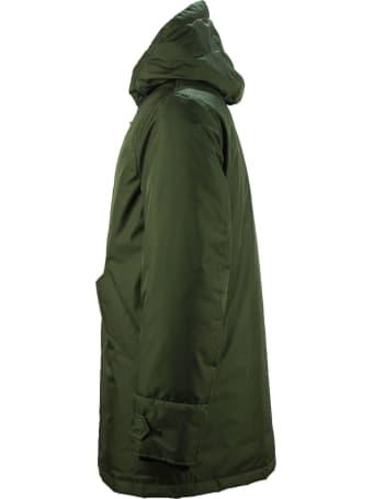 Fay Padded Parka In Green Gabardine Fabric