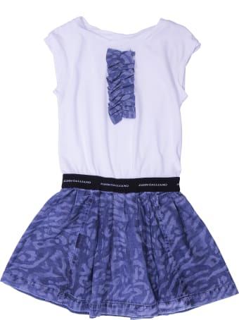 John Galliano White & Blue Cotton Dress