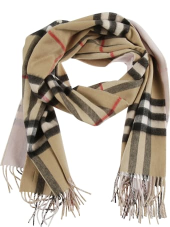 Burberry Giant Check To Solid Long Double Faced Scarf