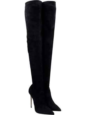 Le Silla Cuissard Eva Boots In Black Suede