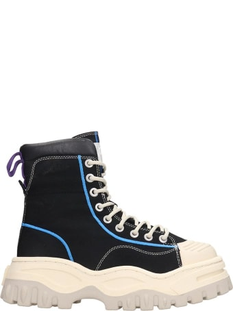 Eytys Akira Combat Boots In Black Canvas