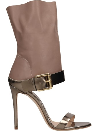 Dei Mille Beige And Metallic Bronze Leather Sandals