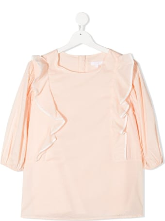 Chloé Pink Cotton Blouse With Ruffles Detail