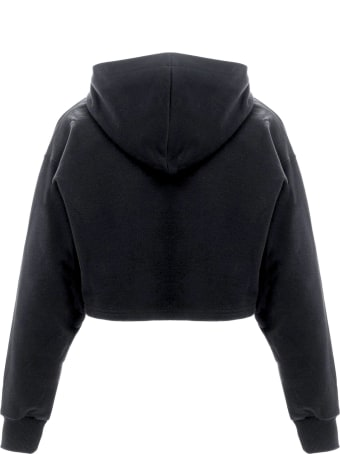 Chiara Ferragni Black Cotton Eyelike Cropped Hoodie