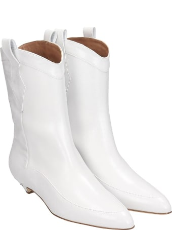 Laurence Dacade Vanessa Texan Ankle Boots In White Leather
