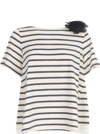 Seventy A Line Striped S/s Sweater W/flower