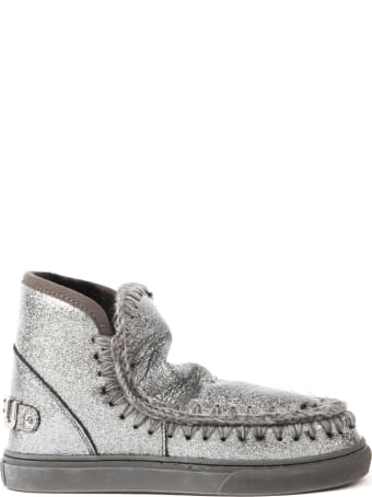 Mou Eskimo Silver Glitter Leather Sneaker Ankle Boot
