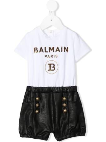 Balmain Newborn White And Black Romper With Golden Logo