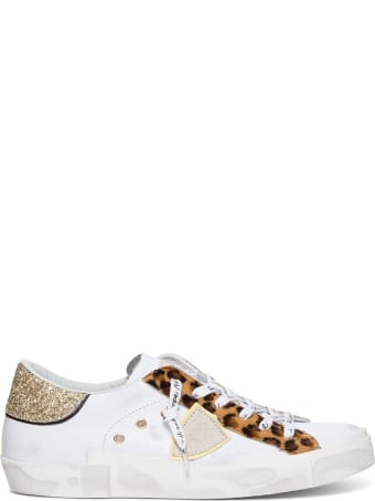 Philippe Model Prsx Low Sneakers With Animalier And Glitter Detail