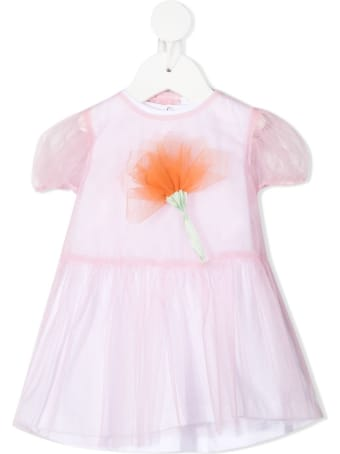 Il Gufo Jersey And Tulle Dress With Flower Detail