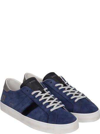 D.A.T.E. Hill Low Sneakers In Blue Suede