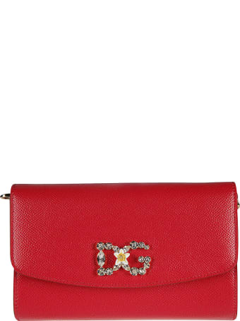 Dolce & Gabbana Crystal Logo Embellished Flap Shoulder Bag