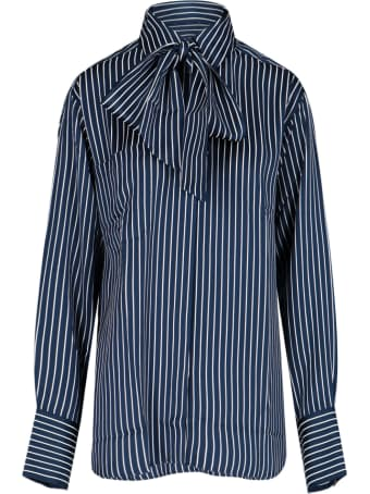 Rokh Stripes Knotted Collar Shirt