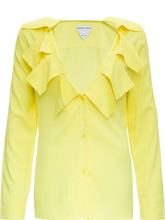 Bottega Veneta Stretch Viscose Shirt With Ruffles