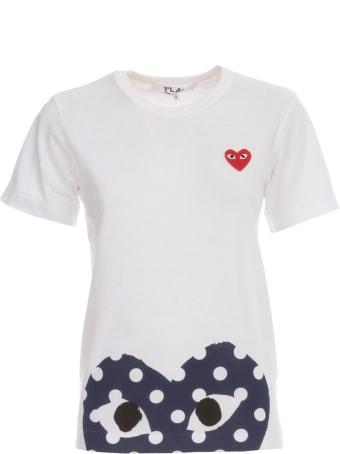 Comme des Garçons Play Play Polka Dot T-shirt W/big Heart On Bottom Tone On Tone