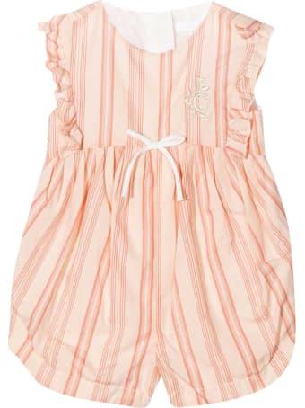 Chloé Pink Romper Chloé Kids With Vertical Stripes