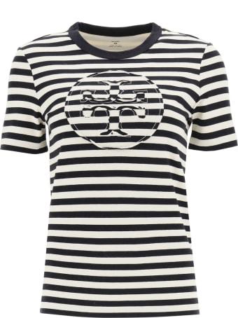 Tory Burch Striped T-shirt With Logo Pocket