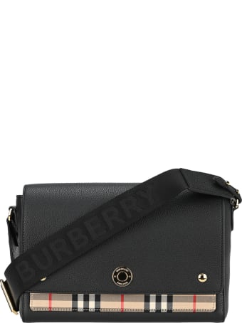 Burberry London Note Shoulder Bag In Leather And Fabric With Vintage Check Pattern