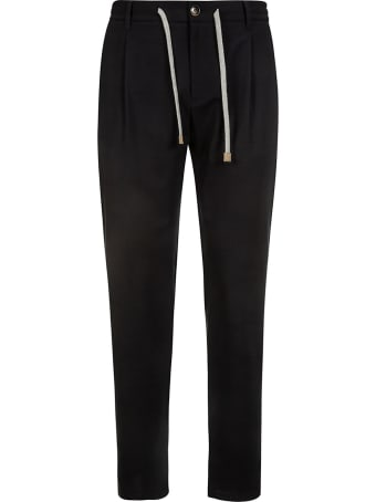 Eleventy Drawstring Buttoned Trousers