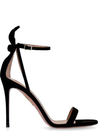 Aquazzura Bow Tie Suede Sandals