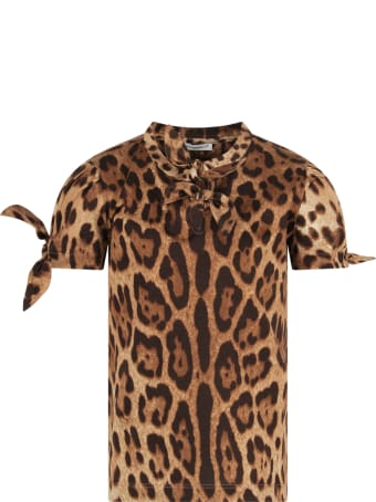 Dolce & Gabbana Brown T-shirt For Girl With Animalier Print