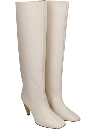 GIA COUTURE High Heels Boots In White Leather