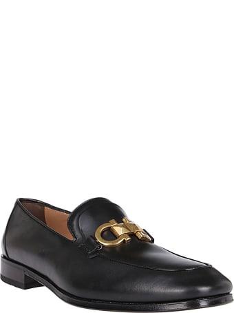 Salvatore Ferragamo Black Leather Rudvil Loafers