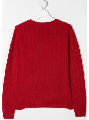 Il Gufo Red Cable Knit Wool Sweater