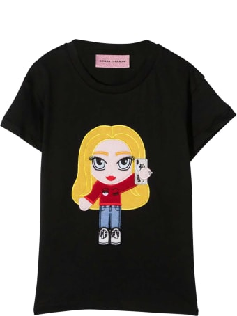 Chiara Ferragni Black Cotton Teen @cfmascotte Patch T-shirt From