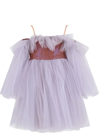 Nikolia Lilac And Brown ''romantica'' Dress For Girl