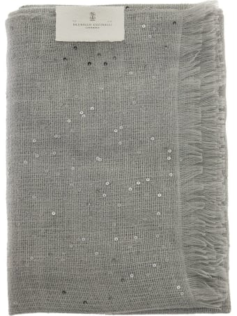 Brunello Cucinelli Cashmere And Silk Diamond Yarn Scarf Pearl Grey